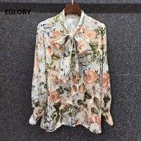 100silk blouse shirt 2021 spring summer shirts women bow collar vintage floral print long sleeve casual vintage button shirt