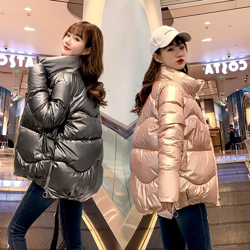 Abrigo de algodón brillante para mujer abrigo de invierno corto suelto estilo novedoso para mujer