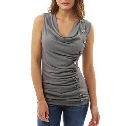 Camiseta feminina sem mangas de decote em v verão magro feminino topos irregulares meninas camisa casual botão senhora regata