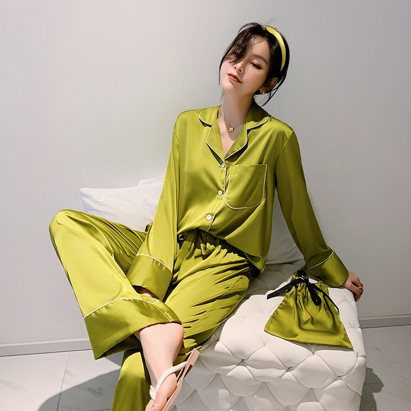 Conjunto de pijama liso de manga larga para mujer, ropa de dormir de seda de imitación, ropa de dormir femenina de primavera y otoño, ropa de dormir informal cómoda para el hogar
