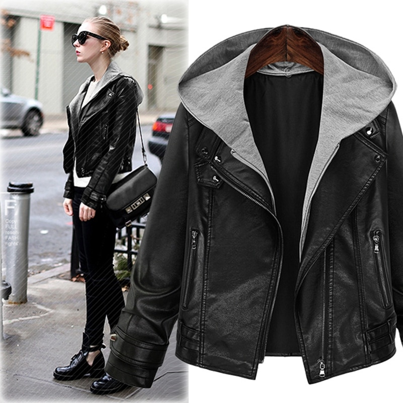 Фото - SWYIVY Women's PU Leather Jacket Hooded Faux Leather Motorcycle Jacket Plus Size Hooded Autumn Outerwear Short Jacket Coats Lady fuzzy hooded jacket
