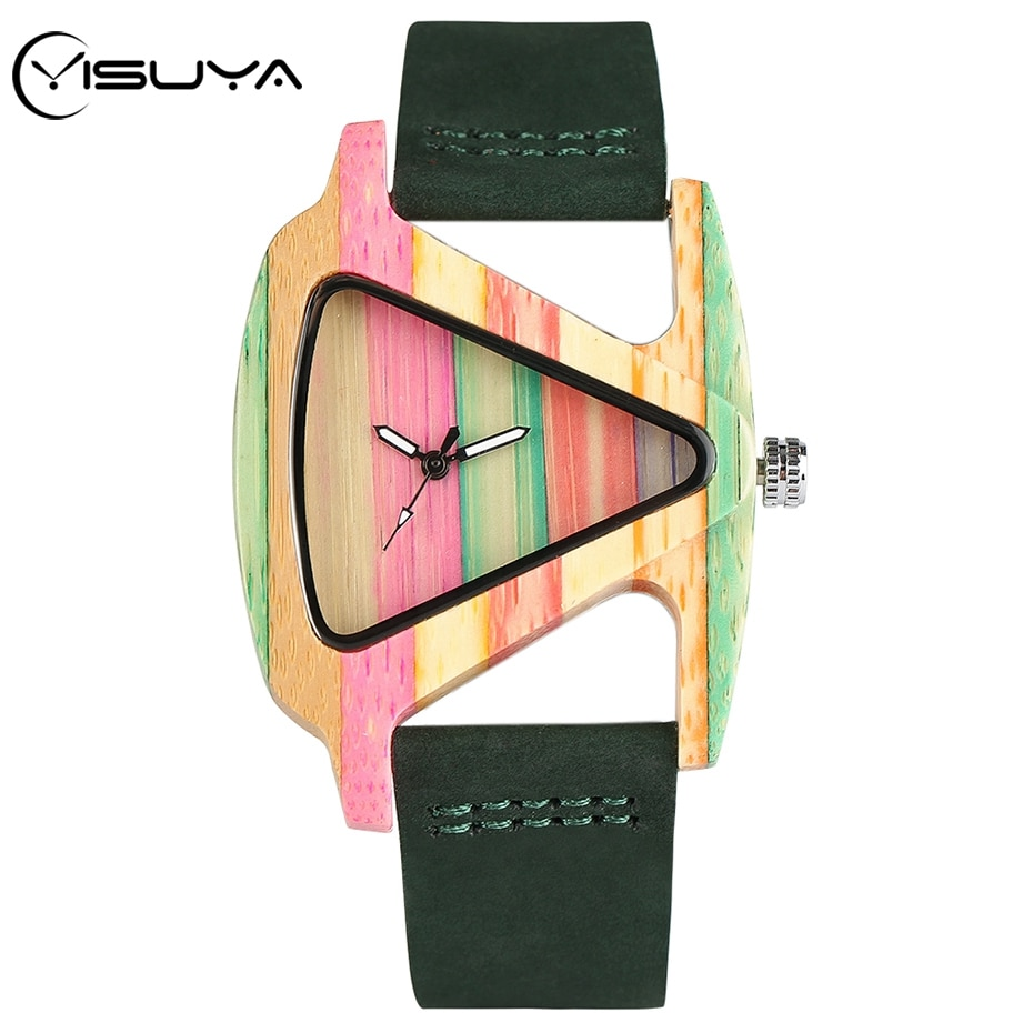 YISUYA único triángulo hueco madera reloj femenino creativo colorido raya bambú reloj hora moda cuero señora reloj