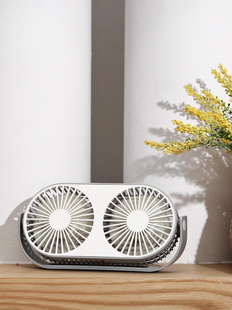 Portable Electric Fan Cooling Usb Charge Air Conditioner Small Personalised Fan Double Leaf Camping Leque Home Garden AG50SZ enlarge
