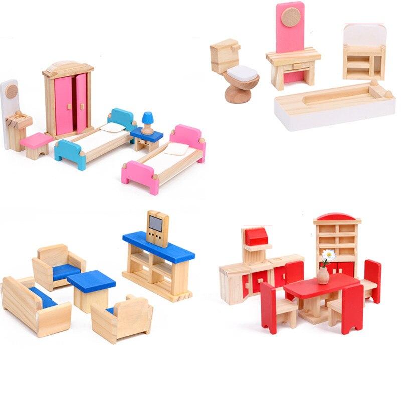 Миниатюрная мебель, кукольный домик, комплекты мебели, деревянный кукольный домик, ролевые игры с игрушками, Мини-Игровой домик, игрушки, по...