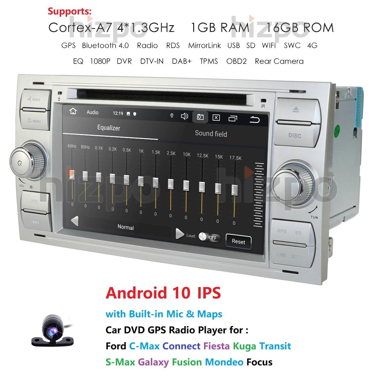 Автомагнитола 2DIN, мультимедийный плеер на Android 10 для Ford Mondeo S-max Focus C-MAX, Galaxy Fiesta, transit Fusion Connect, kuga