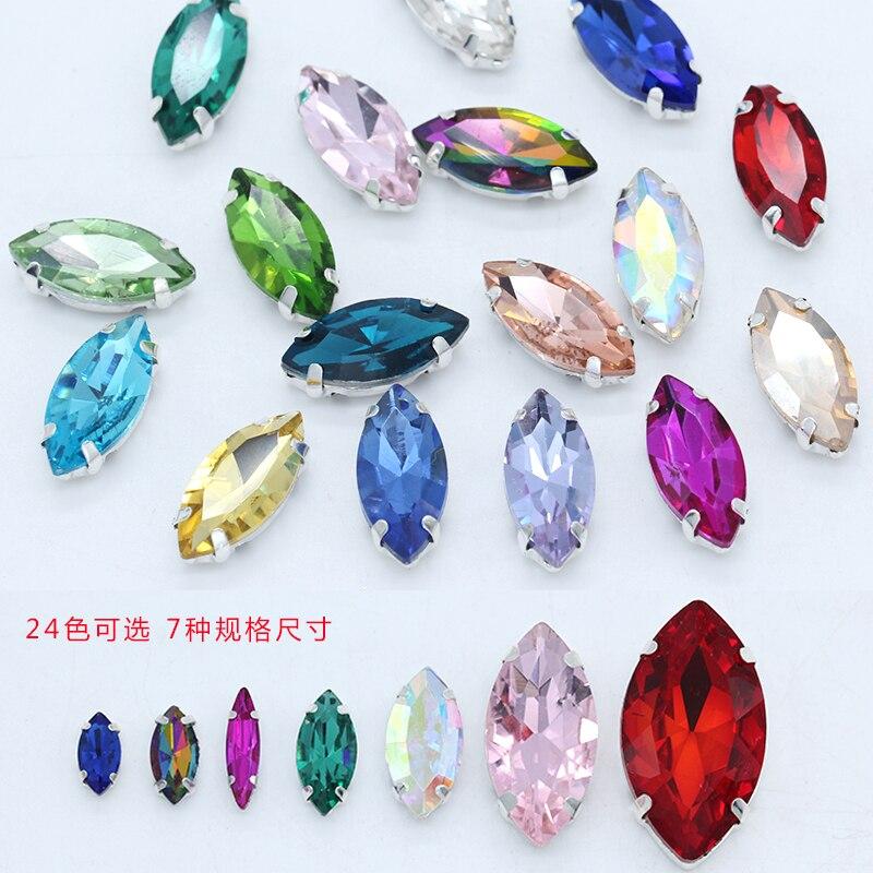 Полноразмерный Navette, 24 цвета, стеклянный камень, плоская задняя пришивка, стразы, драгоценности, бисер, серебряные коготь, кнопки для одежды, аксессуары