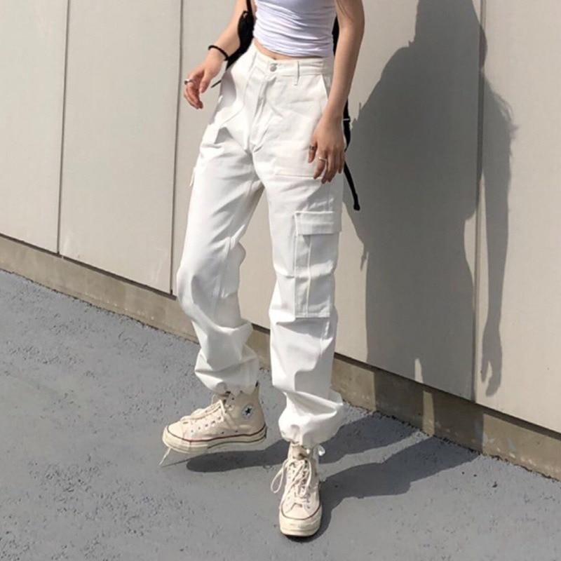 بنطلون كاجوال أنيق عالي الخصر ، جديد ، كوري جنوبي شرق GateUrban ، ملابس ترفيهية ، ملابس بجيوب متعددة ، 2020
