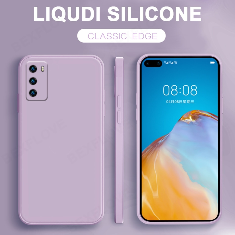 Funda de teléfono para Huawei P40 P30 P20 Pro Mate 30 20 Pro Nova 7 Pro 7 SE Honor 30 Pro funda Original de silicona líquida suave
