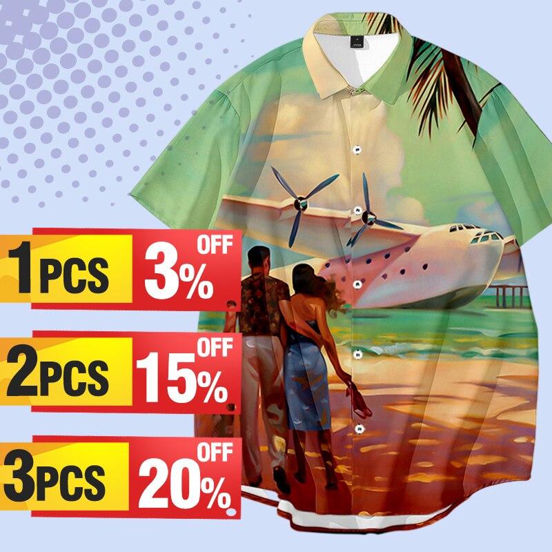 Летний кардиган, рубашки с коротким рукавом, рубашки больших размеров с цифровым принтом, мужские рубашки, повседневные пляжные рубашки, ра...