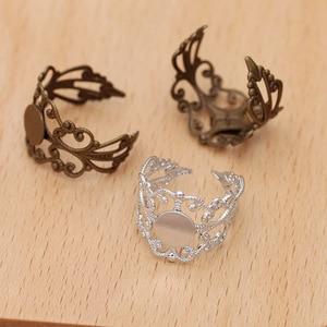 10 шт. модное винтажное регулируемое кольцо-шпилька 8 мм старинное бронзовое кабошон кольцо-шпилька