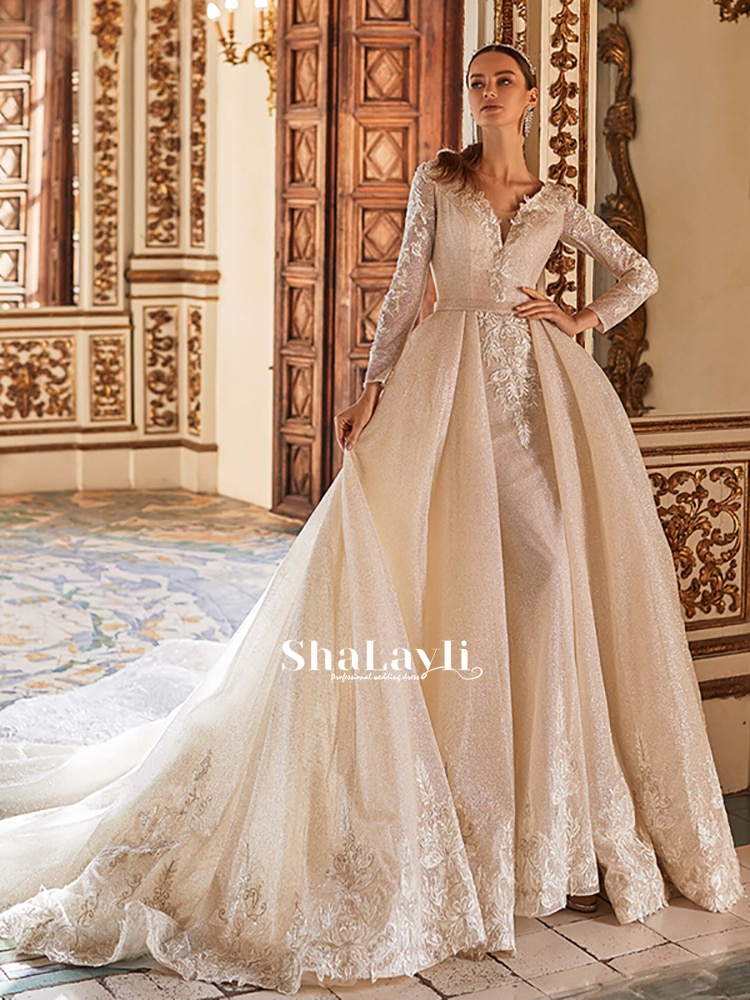 Promo Detachable Luxury Bridal Gown With Soft Yarn  And V-Neck Long-Sleeved Mermaid Wedding Dress With Sexy Backless Custom Large Size