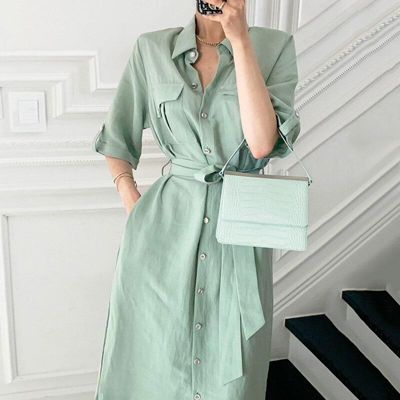Korean Chic Elegant Turn Collar Shirt Long Dress Split Summer Single-Breasted Bandage Short Sleeve Pocket Casual Women Clothing