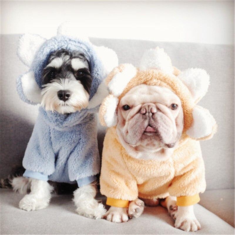 Roupas para Animais de Estimação de Pelúcia Quente para Cães Gatos de lã Cabolsa de Cachorro Roupas de Cachorro Pequenos Macia Gato Jaqueta Chihuahua Pug Bulldog Traje