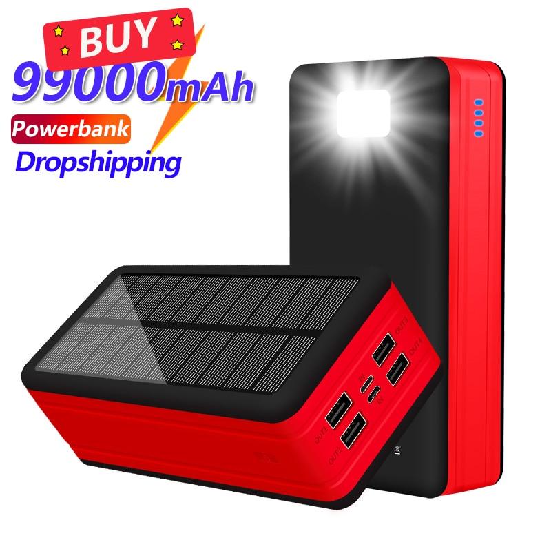 Banco de energía Solar de 99000mAh, cargador portátil de gran capacidad, LED, 4USB, batería externa de viaje al aire libre para IPhone, Samsung y Xiaomi
