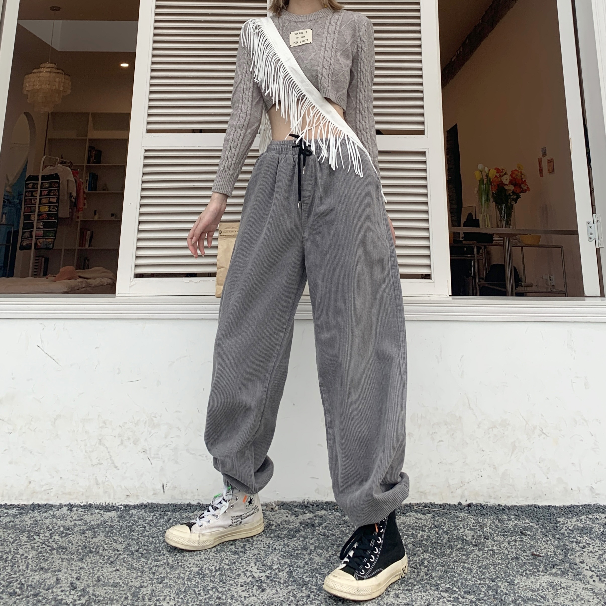 2021 Autumn Winter New Korean Style Ins Student Corduroy Casual Thick Pure Cotton Washed Harem Pants