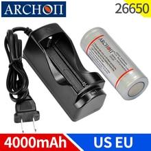 Archon Originele 4000 Mah 3.7 V 26650 Lithium Batterij Eu Us Plug 26650 Lader Zaklamp Oplaadbare Batterij Echte Originele