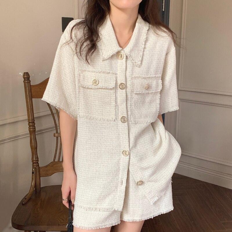 Korean Chic Summer Lapel Chic Button Tassel Shirt High Waist Straight Casual Shorts Two Piece Set