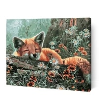 gatyztory little fox animal painting by numbers for adults handmade 60x75cm frame acrylic pigment drawing on canvas home decor