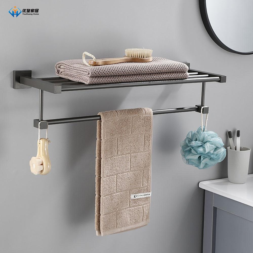 الحمام Organizers الحائط نوع لكمة خالية الفضاء الألومنيوم 40-60 سنتيمتر دش غرفة الجرف منشفة رف اكسسوارات الحمام