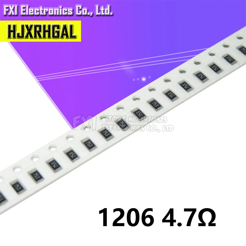 100 pçs 1206-4.7r 1206 smd resistor 4.7 ohm chip resistor 0.25 w 1/4 w 4.7r 4r7 novo original