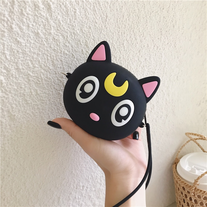 Anime Luna monedero de gatos silicona suave con un dibujo animado Mini dinero llave bolsa Crossbody multifuncional tendencia viaje redondo bolsa de maquillaje