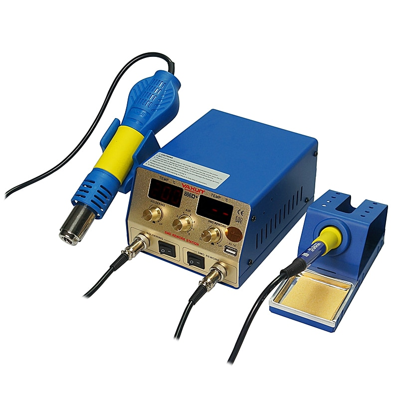 Smd ar quente e estação de solda yaxun YX-886D + 2 em 1 temperatura momery função estação de retrabalho 5 v 1a saída usb