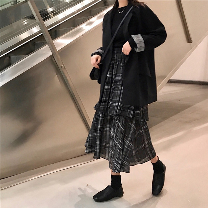 2020 Black Women Slim Plaid Print Midi Skirt Hip Hop Summer Chiffon Irregular Ruffle Long Skirts Womens Casual Skirt Streetwear