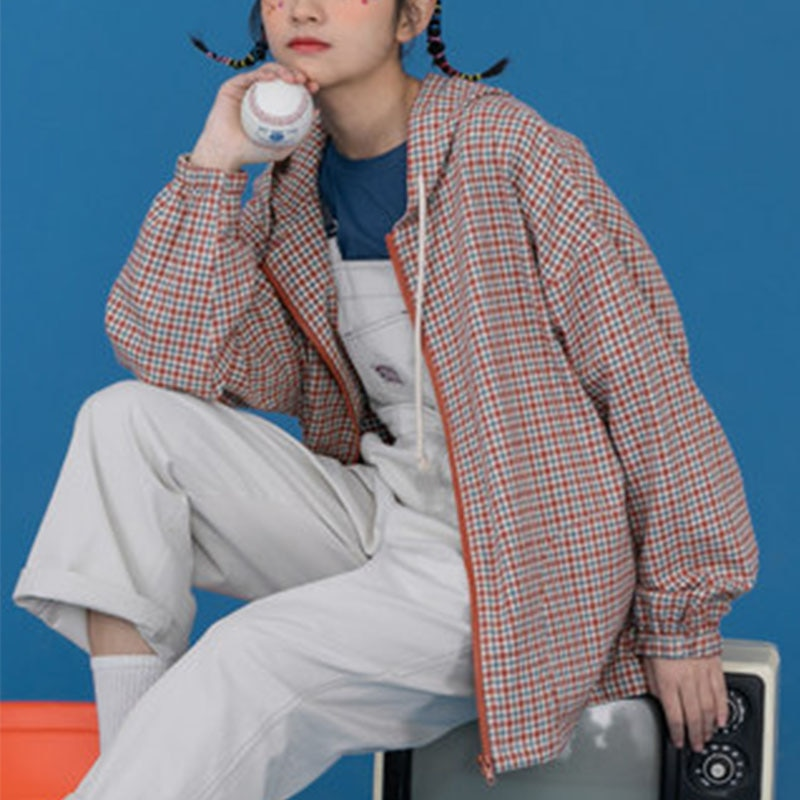 Checkerboard Thin Jacket Women Sunscreen Checker Casual Drawstring Harajuku Plaid Oversize Coat Grunge Street Style 2020
