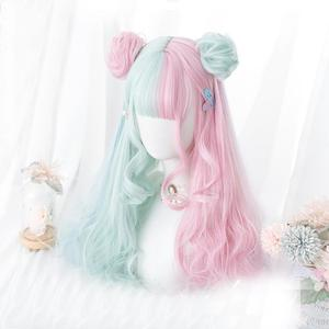 Cosplaymix 57CM Lolita Makaron Color Pink Mixed Mint Green Blue Ombre Long Curly Bangs Cute Synthetic Buns Cosplay Wig