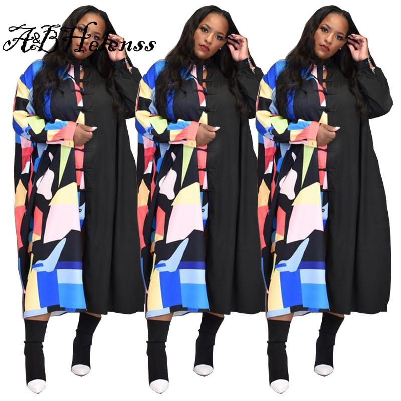 Summer Fashion Dresses for Women Plus Size Casual Print Shirt Dress Cardigan Loose Maxi Dresses