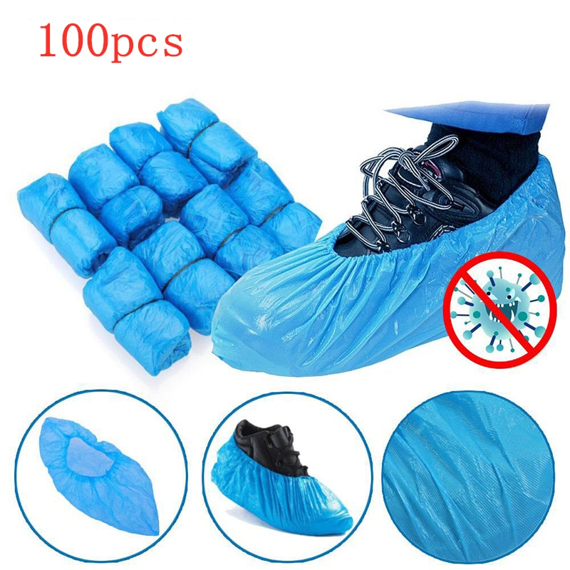 100 PCS Plastic Disposable Shoe Covers Cleaning Overshoes Outdoor Rainy Day Carpet Cover Waterproof