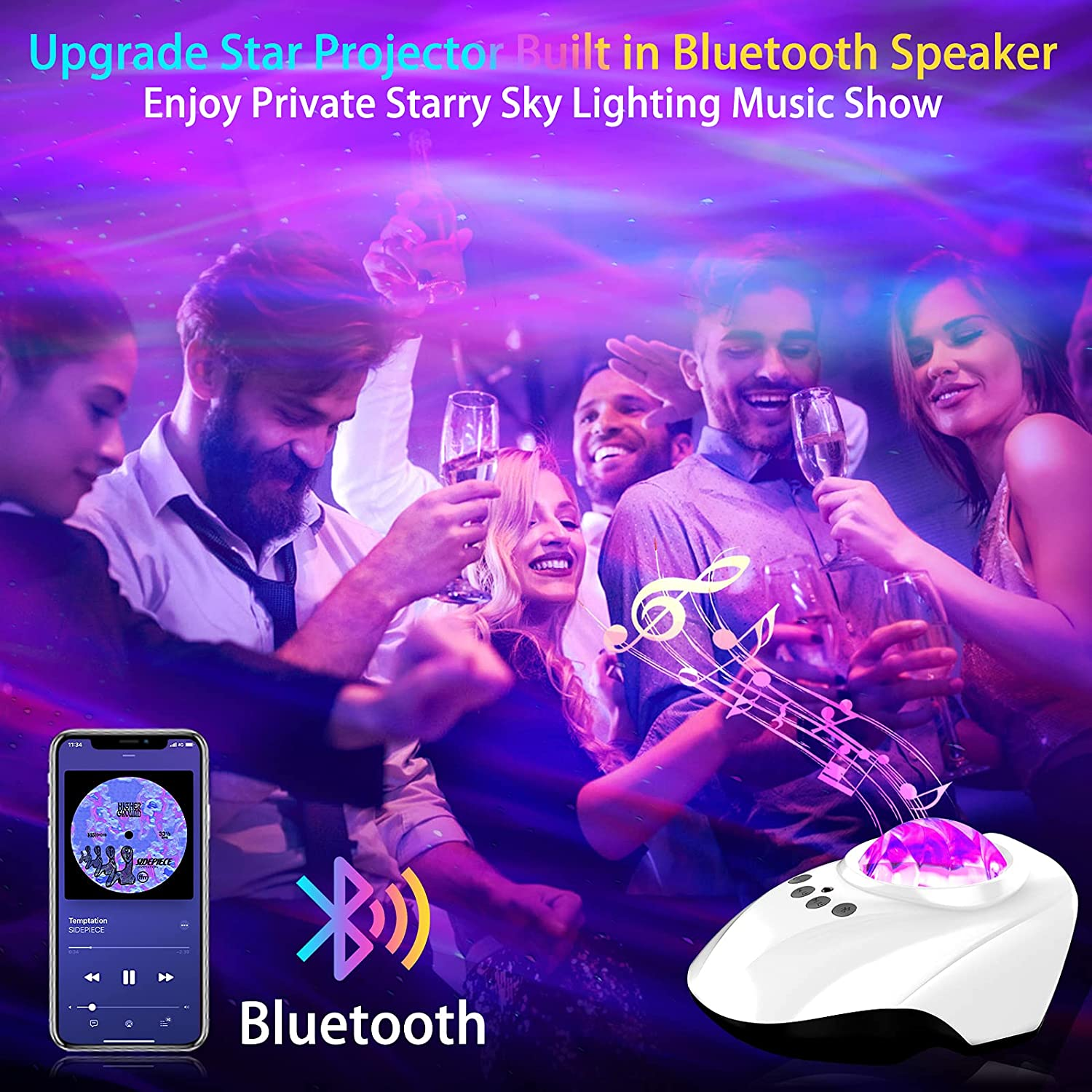 Galaxi Light Galaxy Star Projector Night Lights Aurora Lamp with Bluetooth Music Speaker Remote for Bedroom Kids Party enlarge