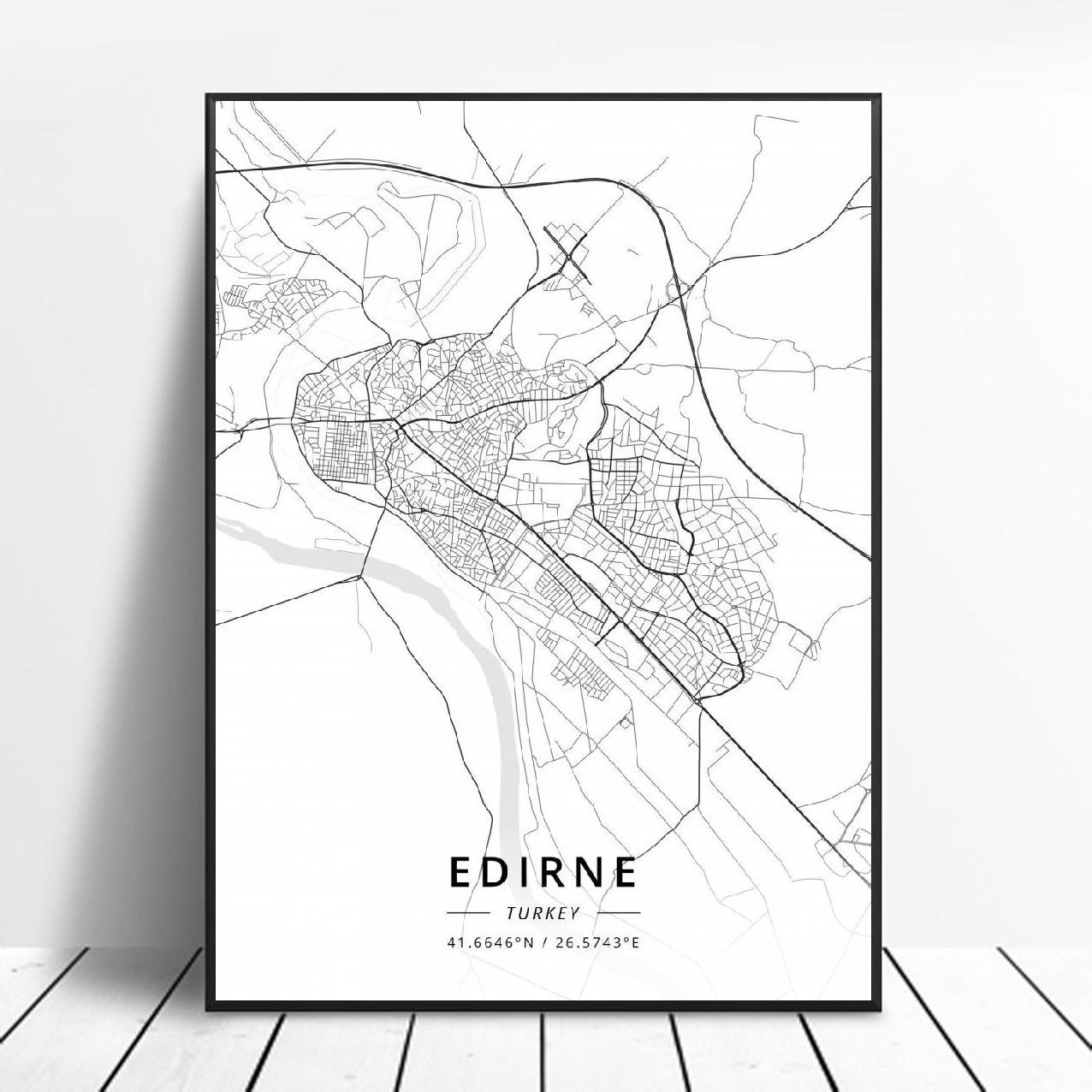 Edirne antalya mugla mersin esmirna istambul adana ancara turquia lona mapa da arte cartaz