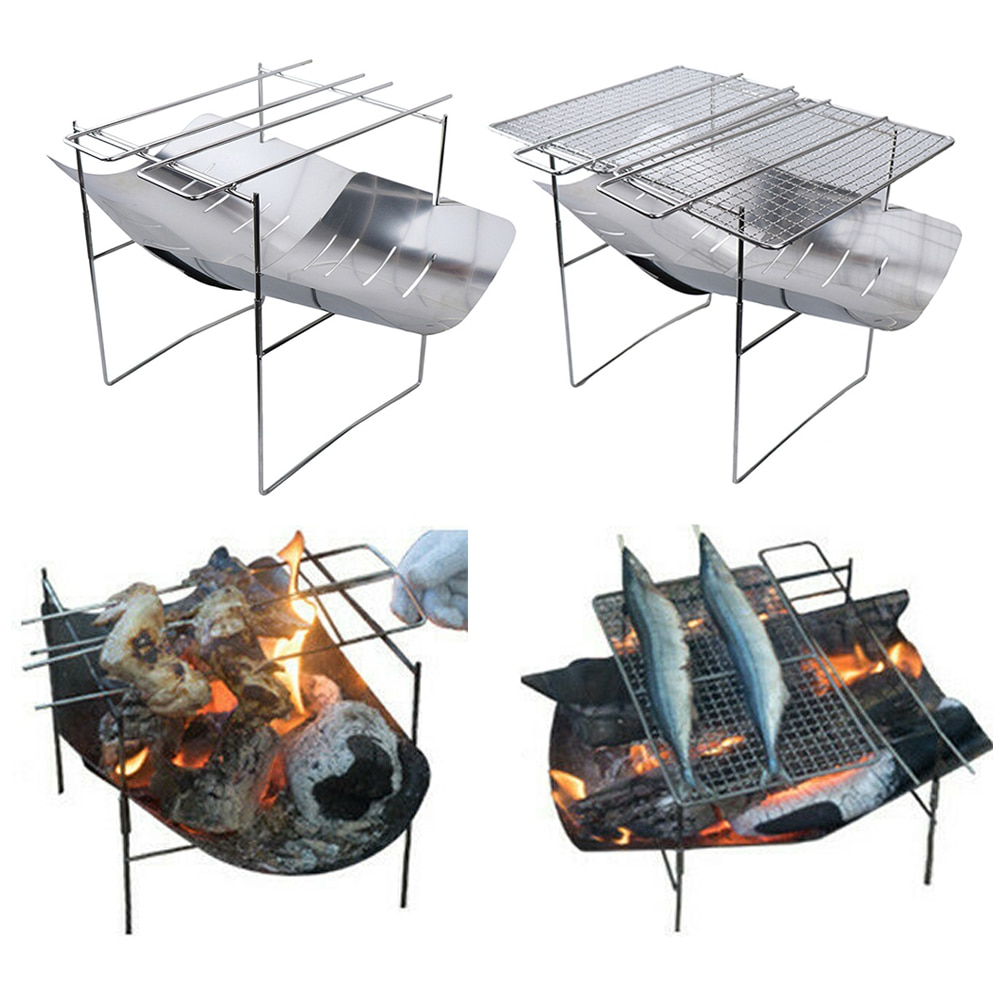 Stainless Steel Folding Barbecue Grill Signal Fire Turret Outdoor Camping Hunting Bonfire Cooking Stove Firewood Rack