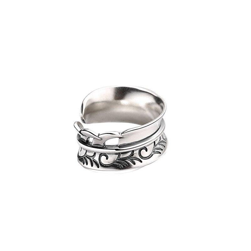 RAINBOW HOOP Korean Style INS Feather Design 100% 925 Sterling Silver Simple Vintage Sanskrit Women Open Rings Fine Jewelry 5g