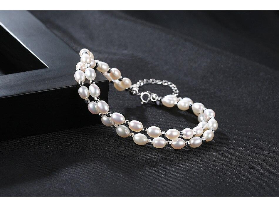 Pulsera de perlas de agua dulce pulsera de moda doble para chicas