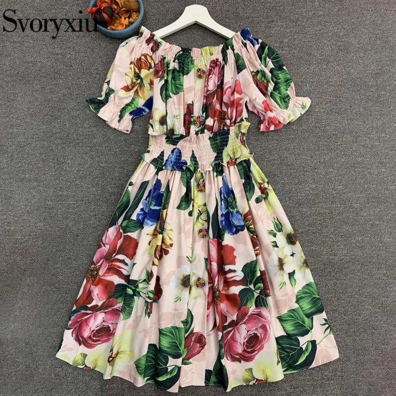 Svoryxiu, vestido de verano con hombros descubiertos de diseñador de pasarela, vestido de fiesta, estampado Floral Multicolor, cintura elástica, Mini vestidos de mujer