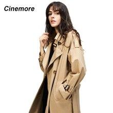 Cinemore 2020 가을 여성 캐주얼 트렌치 코트 오버 사이즈 더블 브레스트 빈티지 워시 아웃웨어 루스 의류 80114
