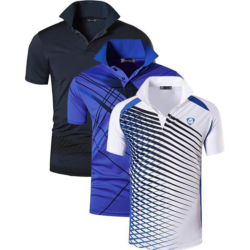 Juego de 3 POLOS camisas POLOS de deporte para hombre, Polo para tenis de Golf, bádminton seco, Manga corta LSL195 PackE