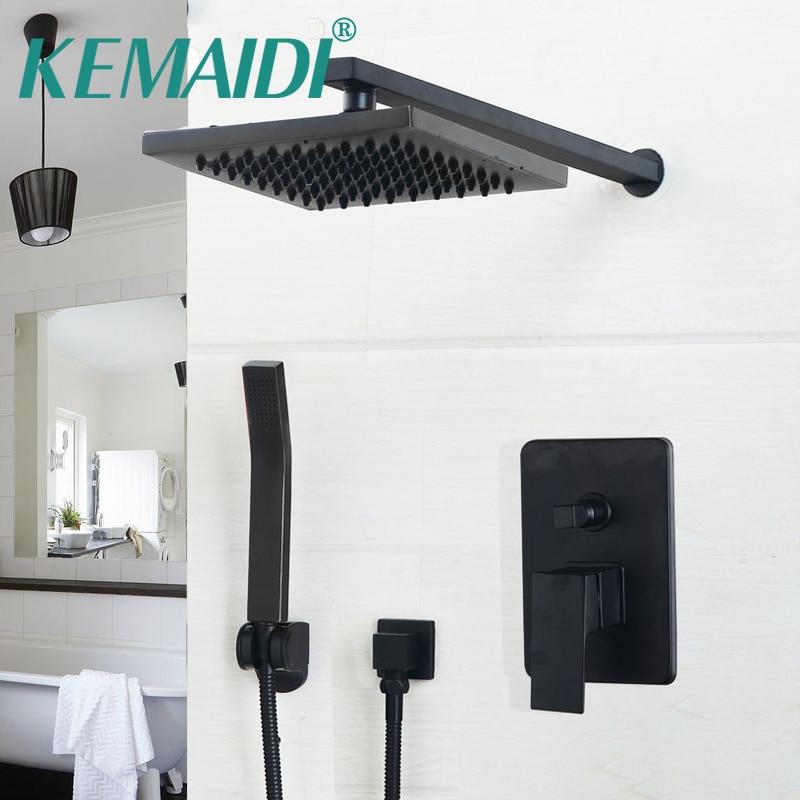 KEMAIDI роскошный черный настенный Набор насадок для душа, 8-дюймовый черный набор для душа