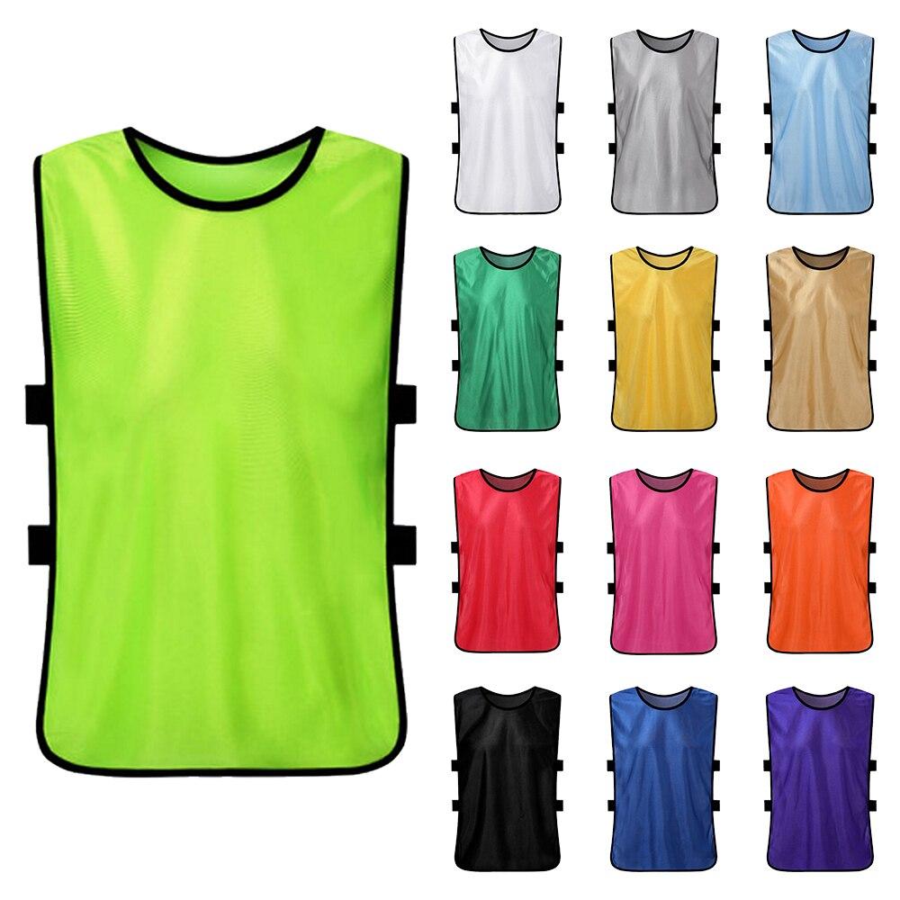 12 Uds chico de fútbol Pinnies de secado rápido camisetas de fútbol jóvenes deportes Scrimmage practicar deportes chaleco equipo entrenamiento Baberos
