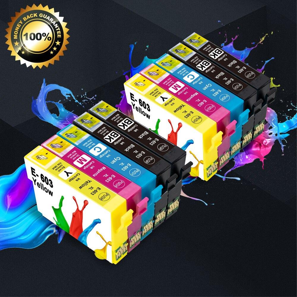 10PK 603xl Pour Epson 603XL T603XL Cartouche Dencre Noir pour Epson XP-2100 XP-2105 XP-3100 XP-3105 XP-4105 WF-2810 WF-2830 Imprimante