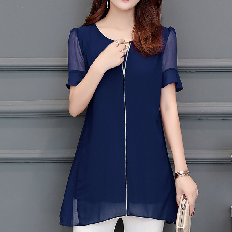 Women Clothing New 2020 Spring Summer Plus Size L-5xl Women Shirts Short Sleeve Ruffle Blouse Shirts Casual Chiffon Blusas 892H