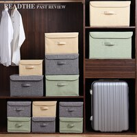 New Washable cotton linen Storage Box With lid Clothes Socks Toy Snacks Sundries organizer Cosmetics storage basket