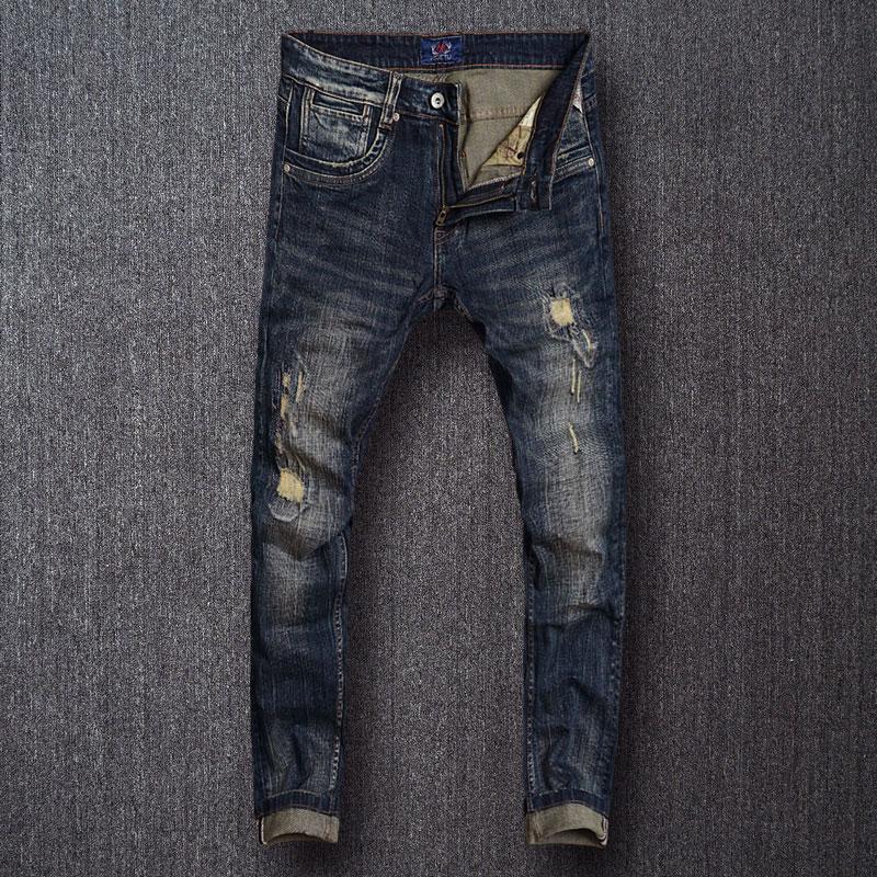 Европейские винтажные модные мужские джинсы, Эластичные зауженные рваные джинсы, Мужские Ретро Черные синие Дизайнерские джинсовые брюки ...