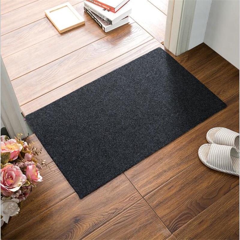 Beibehang High-end escovado tapete liso cor sólida folha de porta mat mat capacho tapete de banho cozinha tapete absorvente