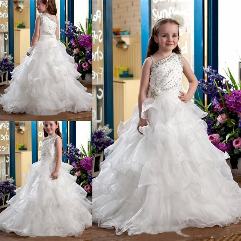 One Shoulder Crystal Ruffles Flower  Girls  Princess Ball Gowns Crystal Beading Girls Birthday Party Celebrity Dress Gown Custom