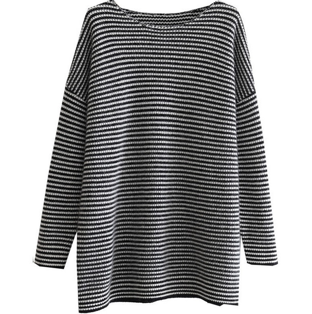 19 European station cashmere sweater women lazy wind round neck striped bottoming sweater large size loose temperament sweater enlarge