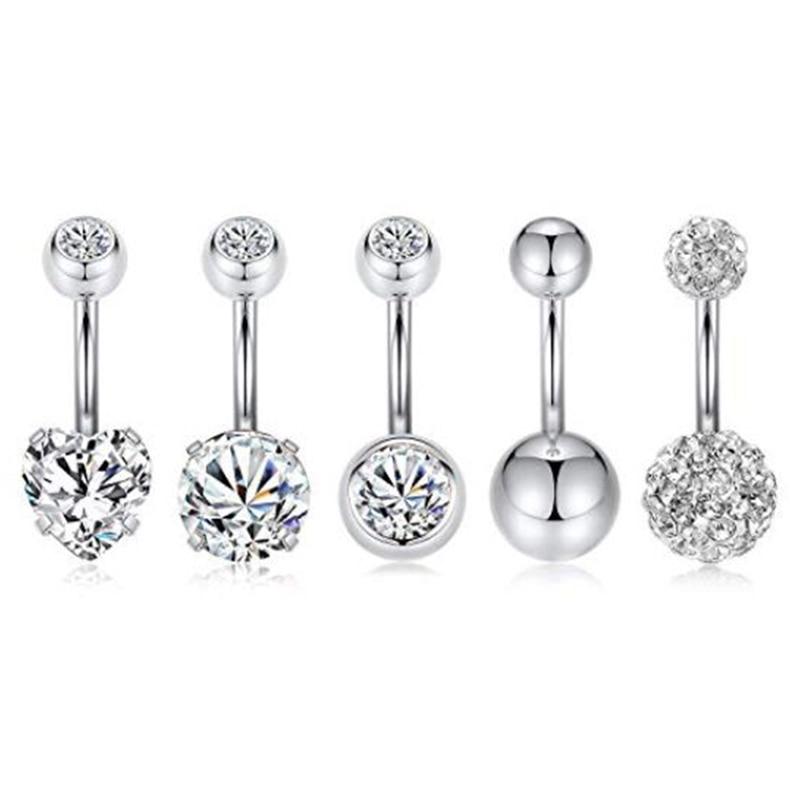 5 pçs pçs/set piercings ombligo umbigo piercing botão da barriga nombril rosa ouro balançar brinco barriga barbell corpo jóias