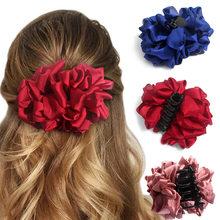 Flatfootsie soie grande fleur arc griffe de cheveux pinces à mâchoires lisse pour les femmes pinces à cheveux filles Barrettes de mariage accessoires de cheveux coréen